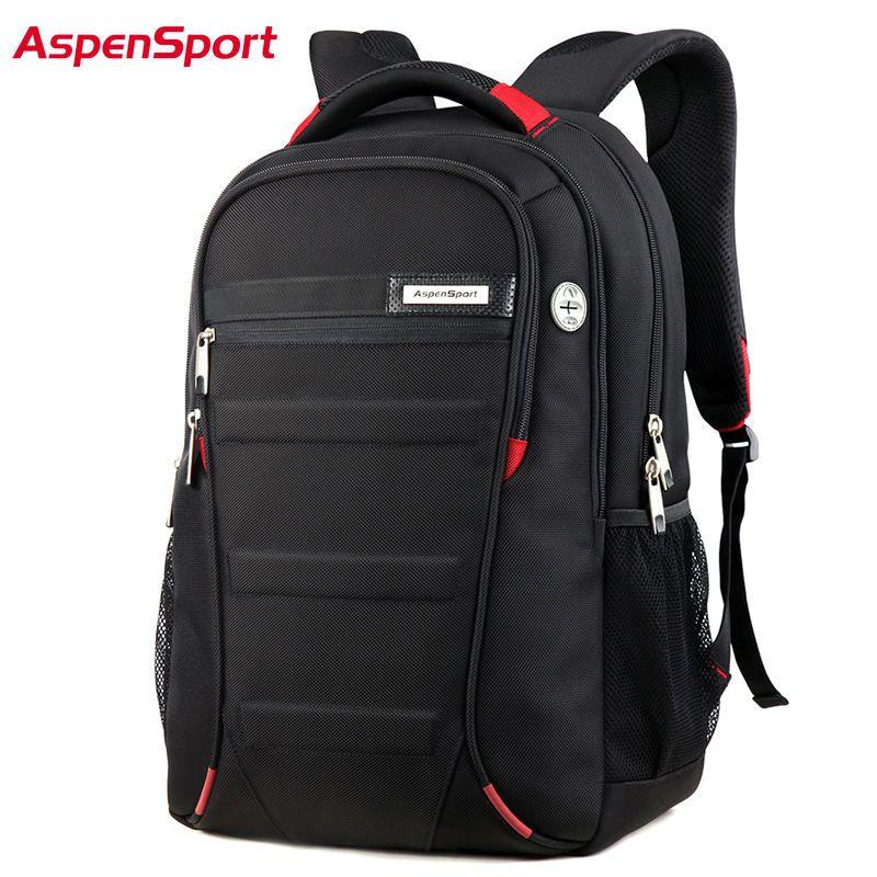 AspenSport Men  Women Laptop Backpack 15.6 17Inch Rucksack SchooL Bag  Travel Waterproof Backpack Men Notebook Computer Bag Black Backpacks For  Girls ... 6d3f512884cf6