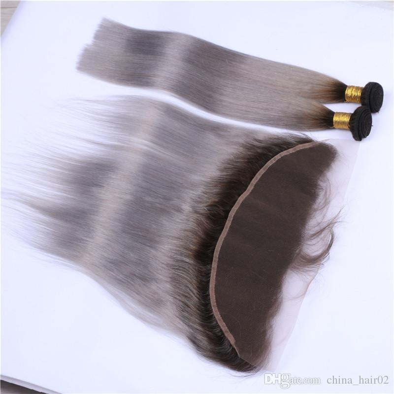 Dark Roots # 1B / Gray Ombre 13x4 Lace أمامي Clsoure مع 3 حزم حزمة مستقيم أومبير الفضة رمادي الشعر الماليزي ينسج مع frontals الكامل