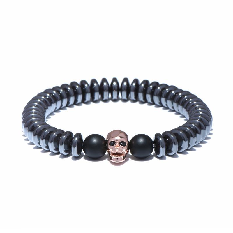 Cráneo gótico del punk Negro hematita natural encanto de la pulsera de piedra Braclet Para los hombres frescos del motorista de la mano de joyería Joyas Accesorios Pulsera