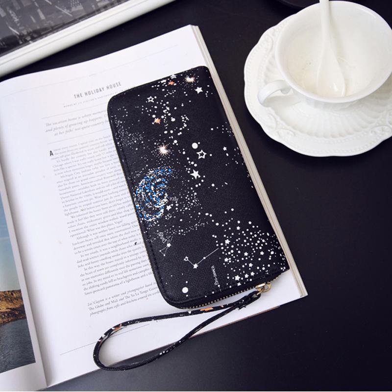 Kadın Cüzdan Kadın Deri Çanta Kart Sahibinin Uzun Debriyaj Uzay Bileklik Telefon Sikke Çantalar Baskı Tasarımcısı Nakit Cep Cüzdan