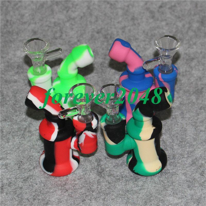 Neue 14mm weibliche Mini Silikon Bong Wasserpfeifen Silikon Ölplattformen Bong Recycler Oil Rig Blase zum Rauchen