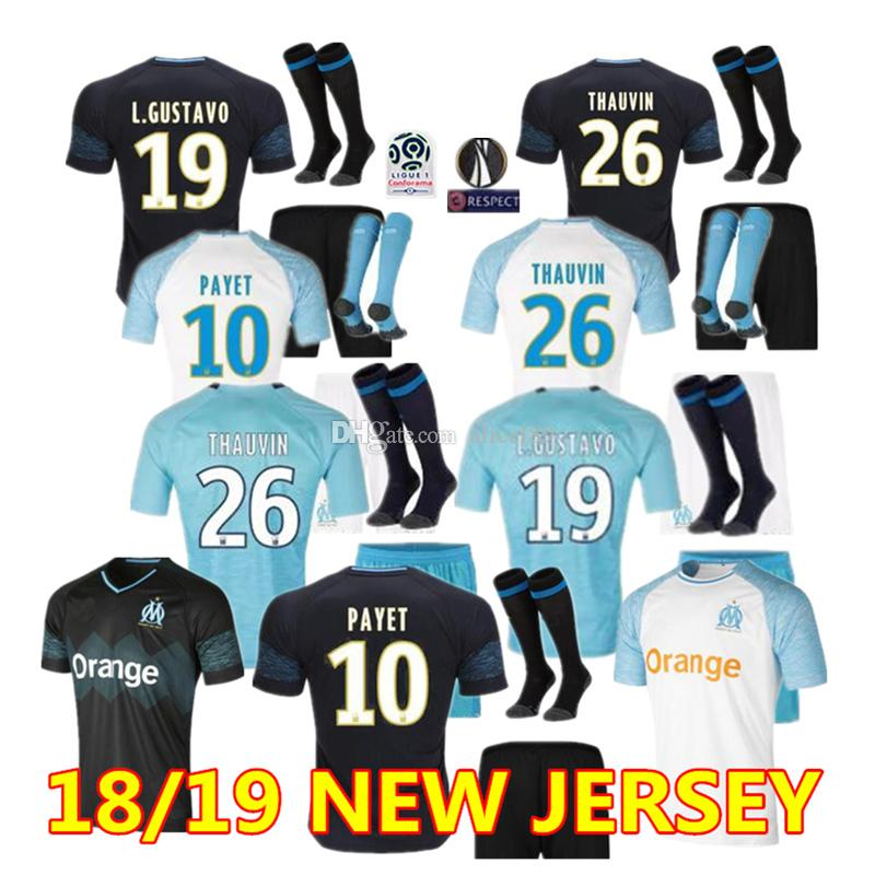 Olympique De Marseille Adult Kit Soccer Jerseys 18 19 OM Marseille ... 6083bcf18