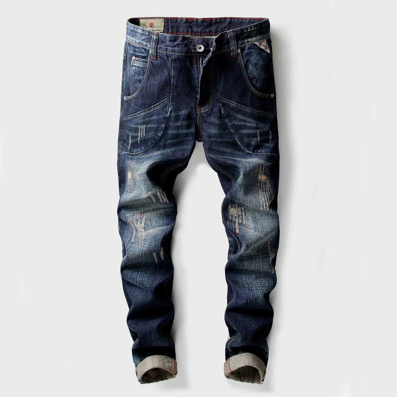 e53031c9197e5 Satın Al Moda Klasik Erkek Kot Yüksek Kalite Slim Fit Büyük Cep Kargo  Pantolon Mavi Renk Yırtık Kot Erkekler Marka Biker Homme, $55.93 |  DHgate.Com'da