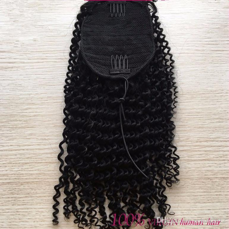 100% Brazilian Clip In Human Ponytail Hair Extensions Kinky Curly Drawstring ponytail afro puffs Virgin curly ponytails 100~180g Free Ship