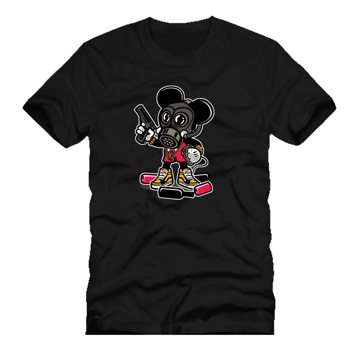 Gangsta Mouse Gas Knuckle Guns Soldi Urban Parody Mashup Dtg Mens T Shirt Tees New Fashion Casual Cotone Short - Sleeve