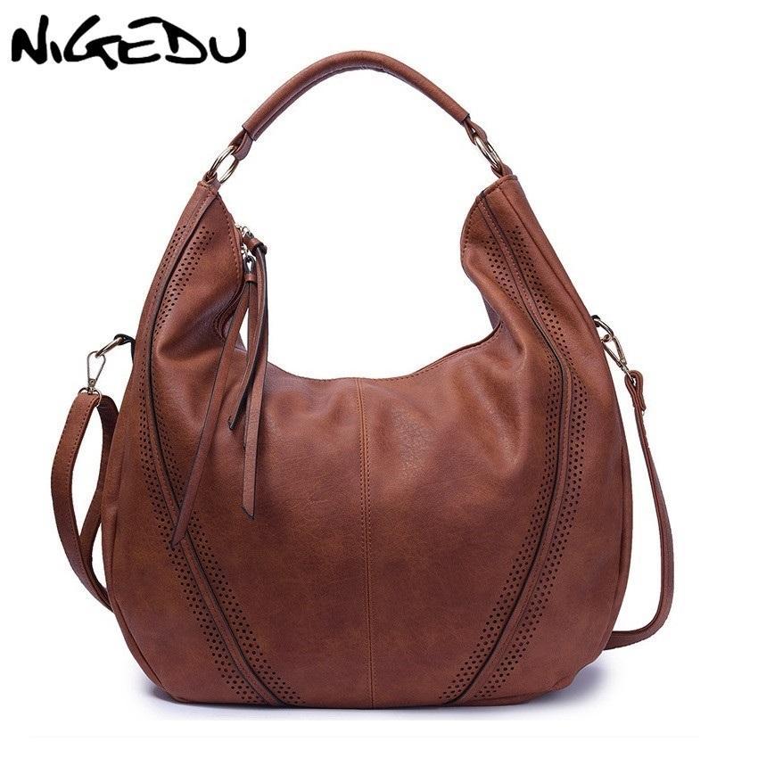 NIGEDU Brand Large Casual Hobos Women Tassel Handbag PULeather ... bb5af5c014c3d