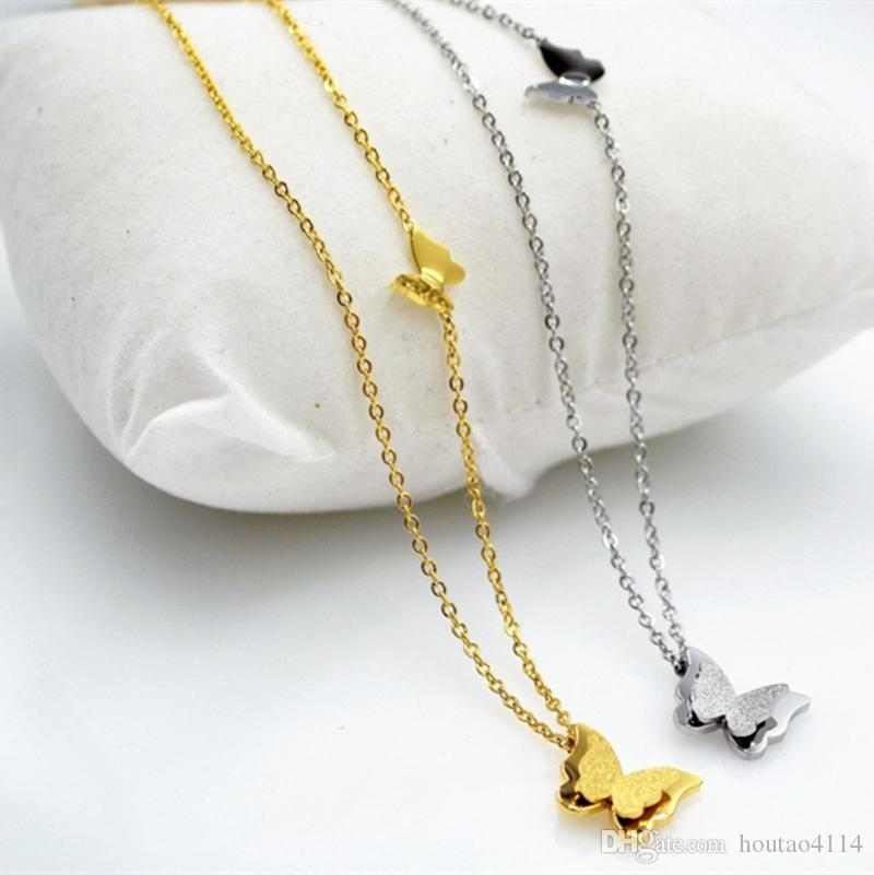 Мода двойной бабочка ожерелье Серебряная ключица цепь титановое покрытие 18K розовое золото цвет женский короткое ожерелье ювелирные изделия