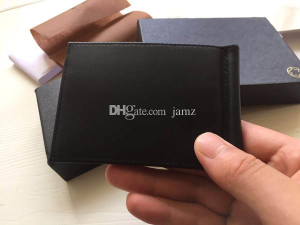 Business Geld Clip Schwarz / Braun Kartenhalter Für Herren Marke Brieftasche Echtes Leder Kreditkarte Geldbörse Kleine Brieftasche Mit Staubbeutel Box