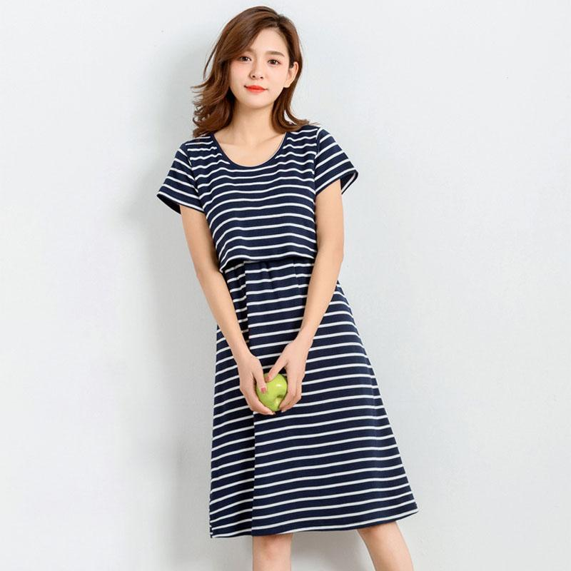 1cbdb6160ee 2019 Summer Striped Nursing Dresses Maternity Clothes For Pregnant Women  Feeding Dress Pregnancy Breastfeeding Dresses Gravidas From Paradise02