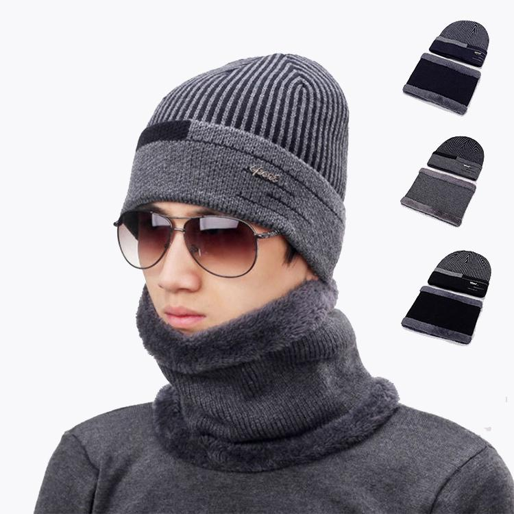 4be499880 Hot selling warm winter knitted hat for men running out door hat suit