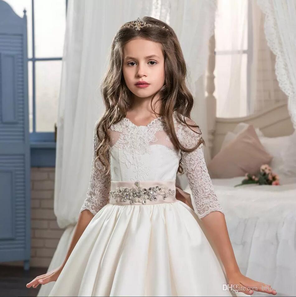 Half Sleelves Flower Girls Dresses For Weddings Jewel Neck Lace Crystals Satin Formal Kids Pageant Dress Girls Formal Party Wedding Dress