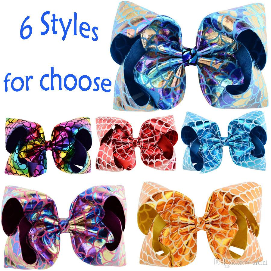 8fb7ce51e14f 6 Styles JOJO Baby Girl Hair Bow Clips Boutique PU Leather Fish Scales  Hairpin Cute Bowknot Barrettes Child Hair Accessories Jewelry H945F Newborn  Girl Hair ...