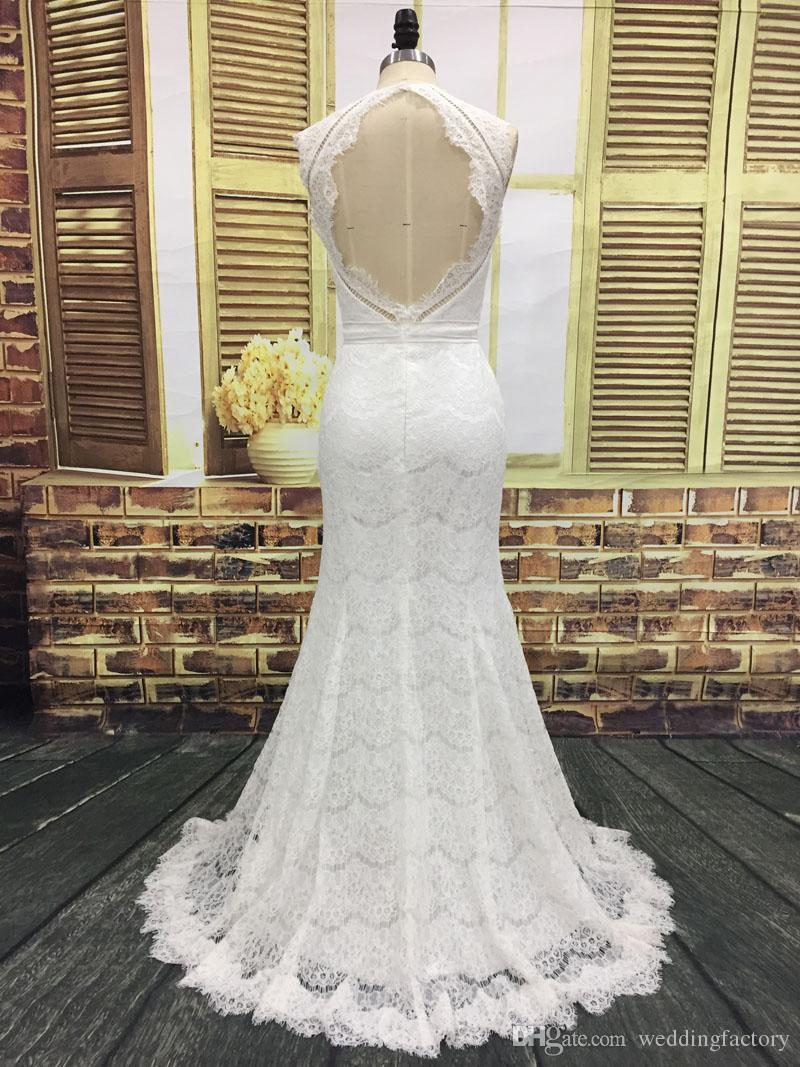 Romantic Lace Mermaid Beach Wedding Dress Real Images Jewel Neck Sleeveless Country Bohemian Bridal Gowns Sexy Backless Desgin
