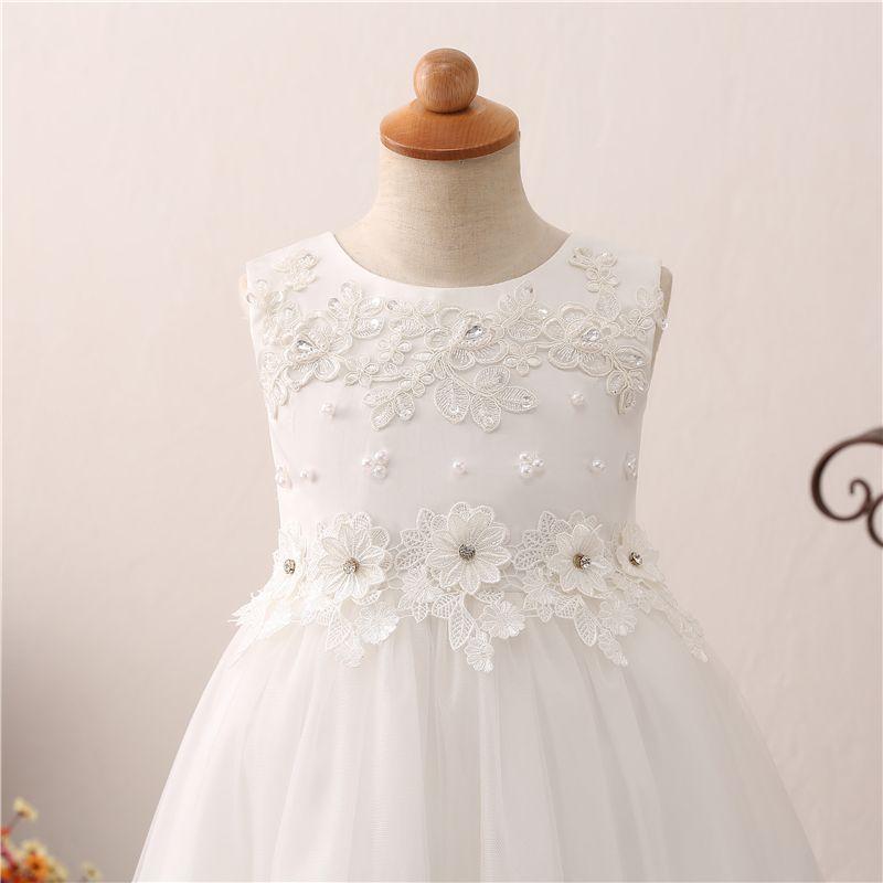 Blumen-Mädchen kleidet 2018 neue Perlen-Sleeveless Bogen-Schaufel-Ansatz-hohe niedrige Hochzeits-Kleid-Mädchen-Kleid nach Maß an