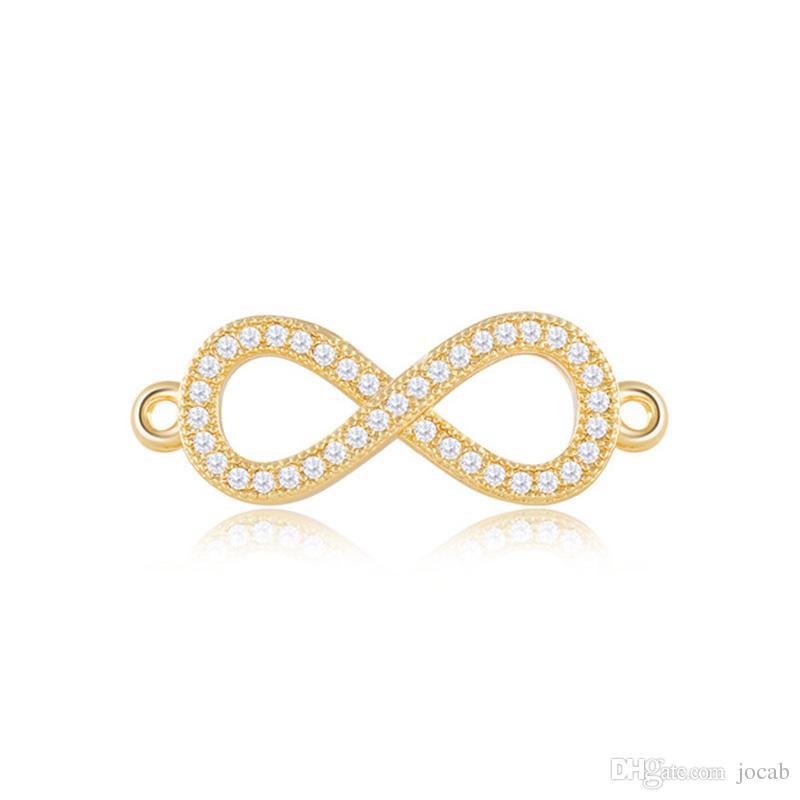 Bijoux en gros faits à la main de bijoux Composants Conclusions boucles d'oreilles Bracelet Strass Infinity Symbole Charmes Collier Pendentif Connecteur Accessoires