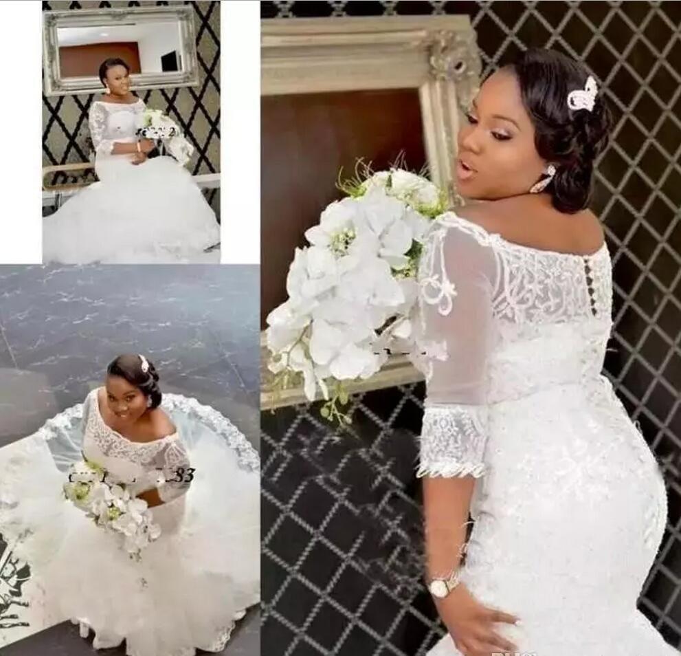 Африканские свадебные платья нигерийской русалки 2019 года с плеча Аппликация кружева Плюс Размер Свадебные платья покрыты пуговицами Vestidos De Novia