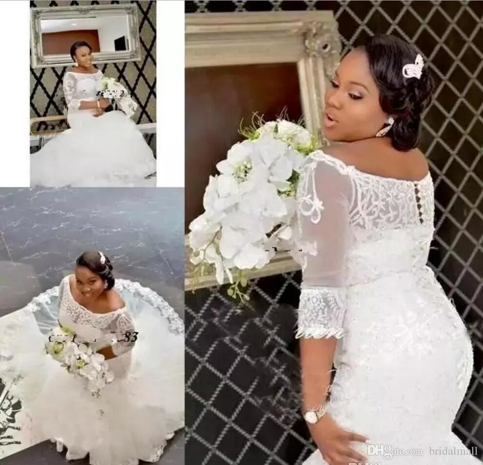 Afrikanska 2019 nigerianska sjöjungfru bröllopsklänningar från axelapplikationen spets plus storlek Bröllopklänningar täckt knapp Vestidos de Novia