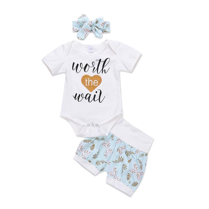 e912cbcf0 Kids Baby Girl T-shirt Romper Letter Tops+Floral Shorts+Headband ...