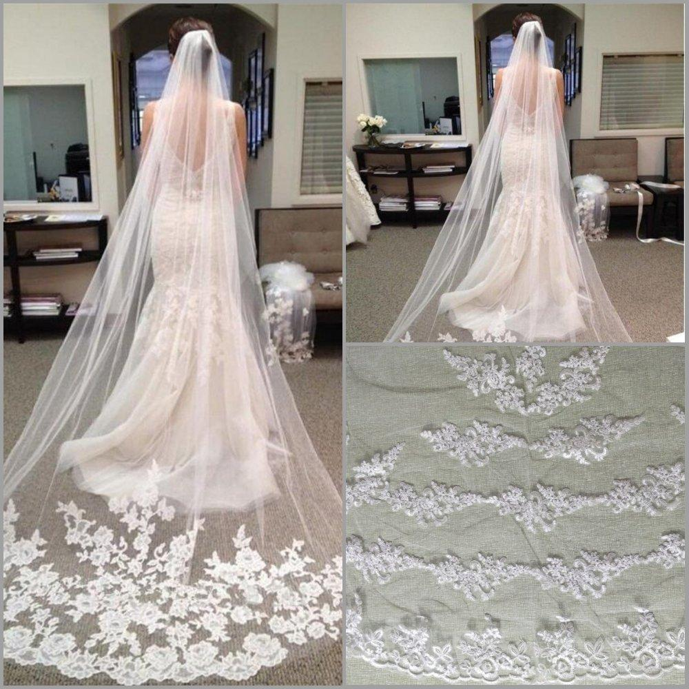 In Stock One Layer Lace Appliques Long Bridal Veils Custom Made Elegant Wedding Veils Charming Bridal Accessories Head Veils