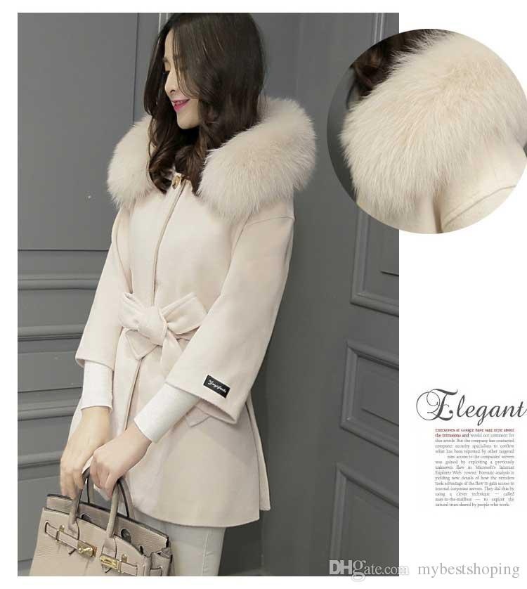 New 2017 Winter Women's Cashmere Wool Coat Casual Slim Long Clothing Fur collar Jacket Tops Fashion Womens Jackets And Coat