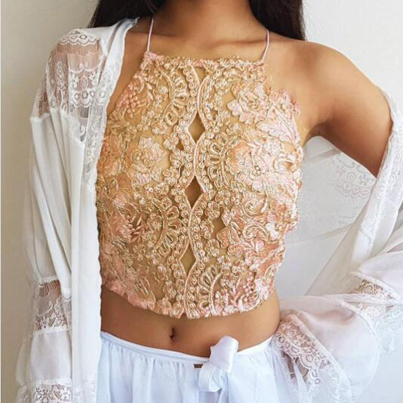 ace902015ea77 2019 Naiveroo Women Floral Embroidery Lace Crop Tops Halter Neck Lace Mesh  Organza Short Sexy Off The Shoulder Unbacked Vest From Ladylbdcloth