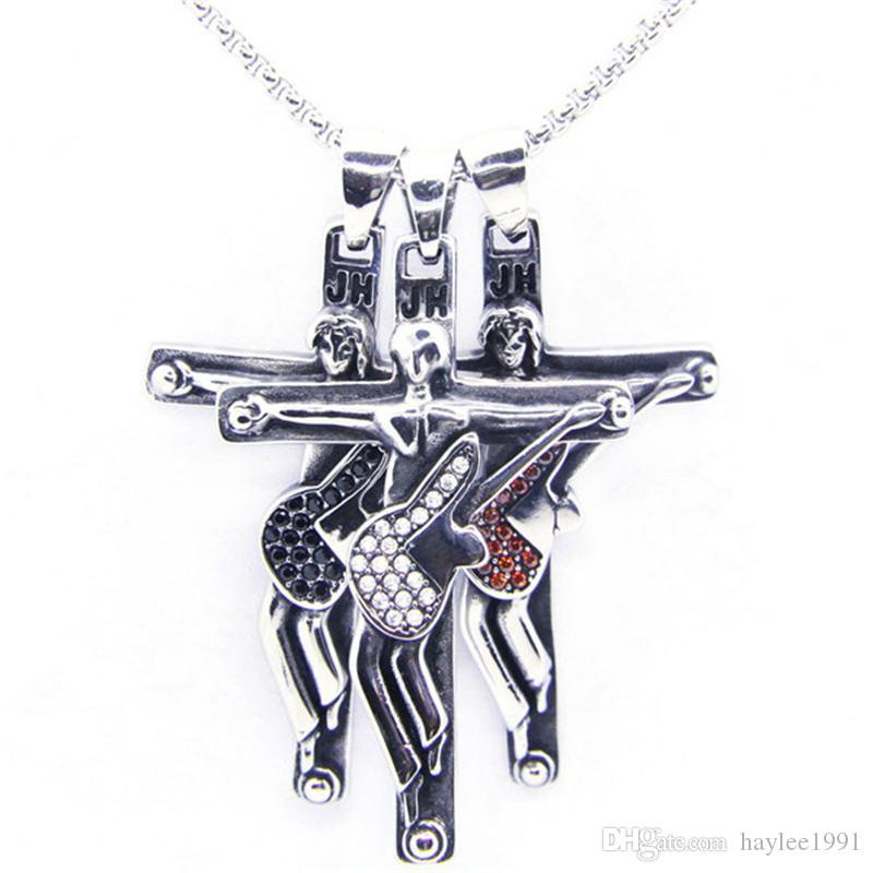 Newest Silver Golden Crystal Guitar Singer JH Pendant 316L Stainless Steel Jewelry Personal Design Jesus Cross Music Cool Pendant