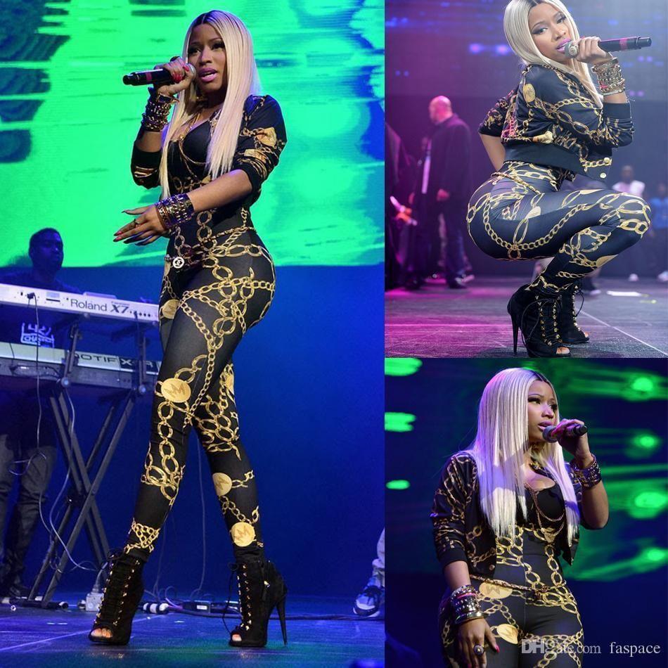5dd8c5f959c 2019 Wholesale Nicki Minaj Jumpsuits Sexy Vintage Chain Pattern Print  Clothing Women Patchwork Bodysuit Prom Romper Playsuit Bandage Jumpsuits  From Baiboy