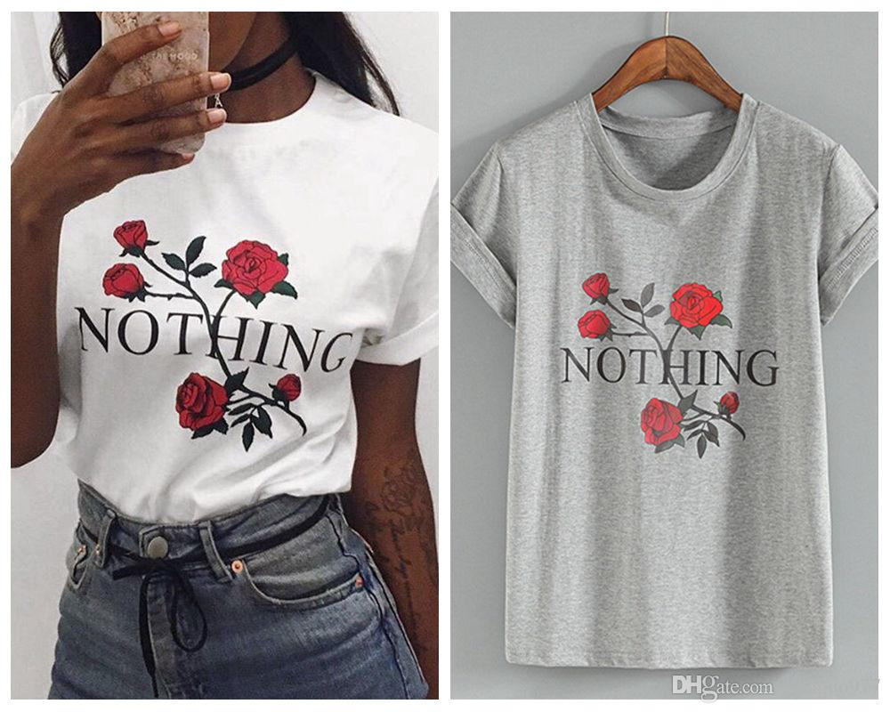 55c0dd6bc70 Nothing Letter Print T Shirt Rose Harajuku T Shirt Women 2018 Summer Casual  Short Sleeve T Shirt White Gray Punk Shirts Good T Shirt Design Latest T  Shirt ...