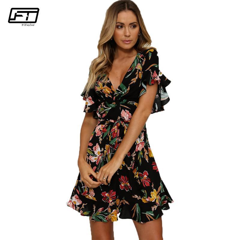 4b7d00864a1e1 Fitaylor 2018 Summer Vintage Beach Dress Women V Neck Short Sleeve Print  Floral Bandage Dress Sexy Club Evening Party Dresses