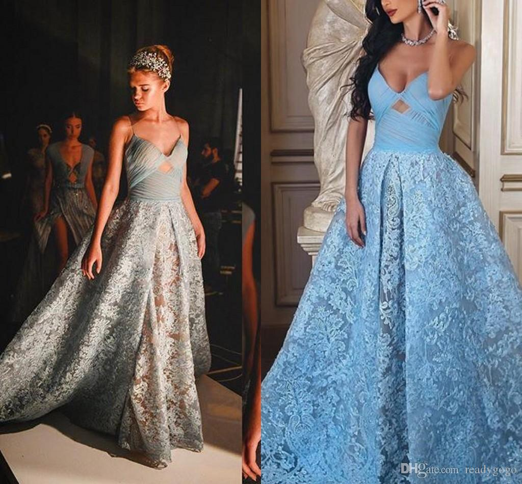 Glamorous Sky Blue Prom Dresses Sexy Spaghetti Straps Ruched ...