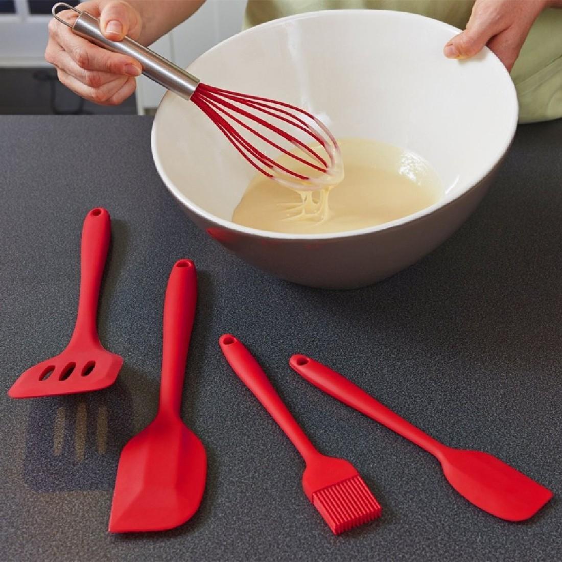 Utensili da cucina creativi di alta qualità Utensili da cucina in silicone Utensili da cucina in silicone 5 pezzi / set Rivestimento solido igienico