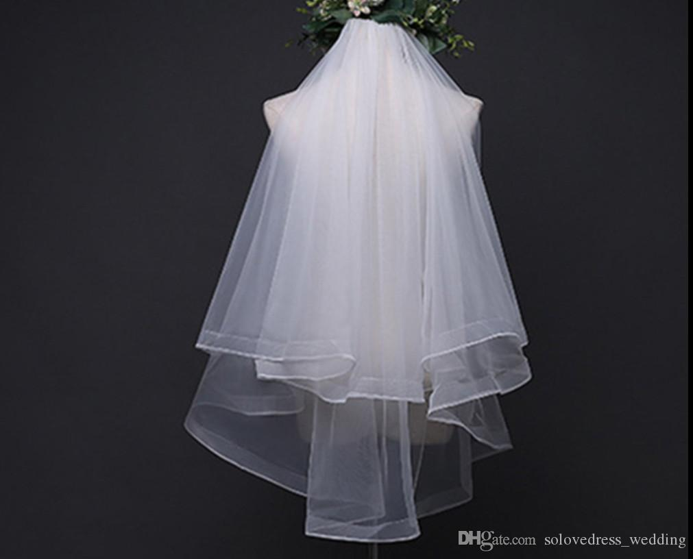 New White/Ivory Bride Wedding Veils 2018 Simple Two layers Tulle Wedding Hair Head Bridal Veils with Comb