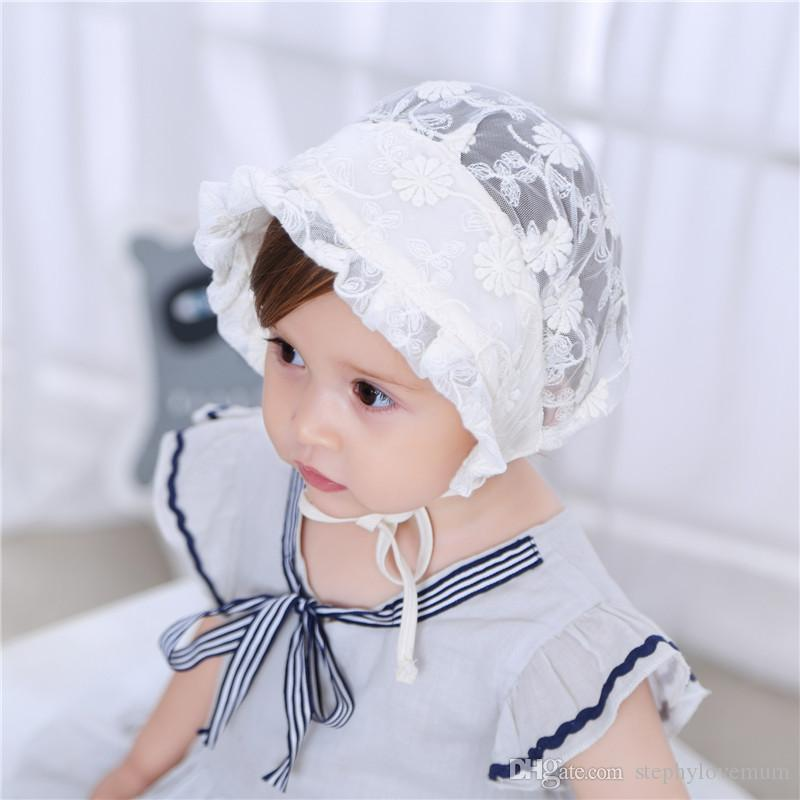 f8526e0c65a 2019 Baby Photography Props Lace Hat Girl Boy Toddler Lovely Infant Kids  Caps Newborn Photo Lacing Hat Solid Colors Sunscreen Princess Cap From ...