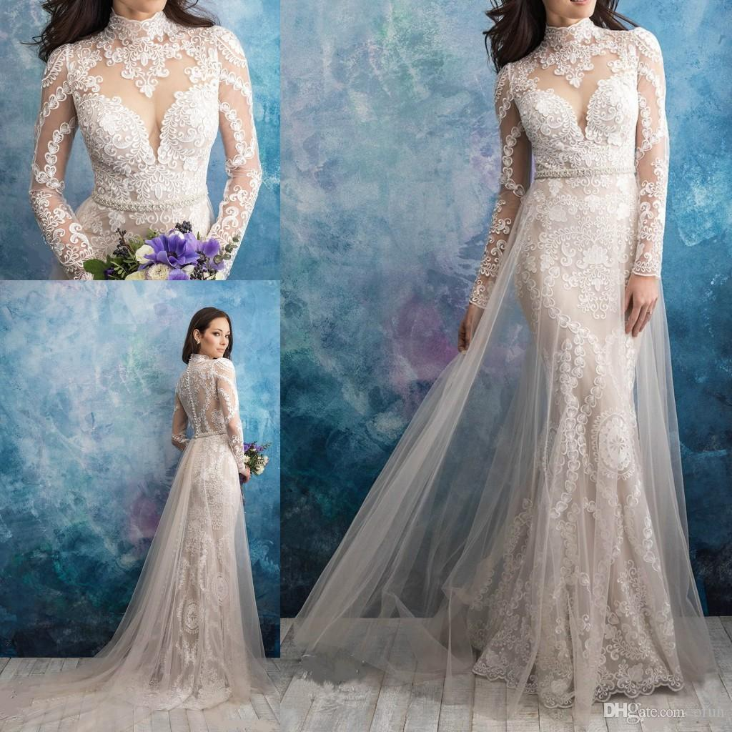 c2354987 New Mermaid Lace Applique High Neck Wedding Dresses Illusion Long Sleeves  Floor Length Bridal Gowns Beaded Sash Overskits Arabic Bride Dress Silk  Mermaid ...
