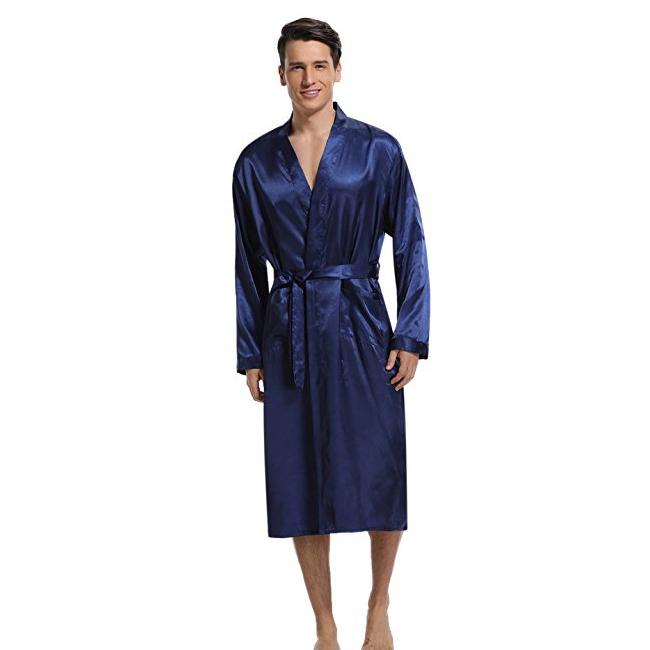 2019 Navy Blue Men Kimono Nightwear Satin Robe Pyjamas Room Home Clothes  Bathrobe Long Sleeve Satin Soft Silky Sleepwear Gown From Roberr a13237c9d