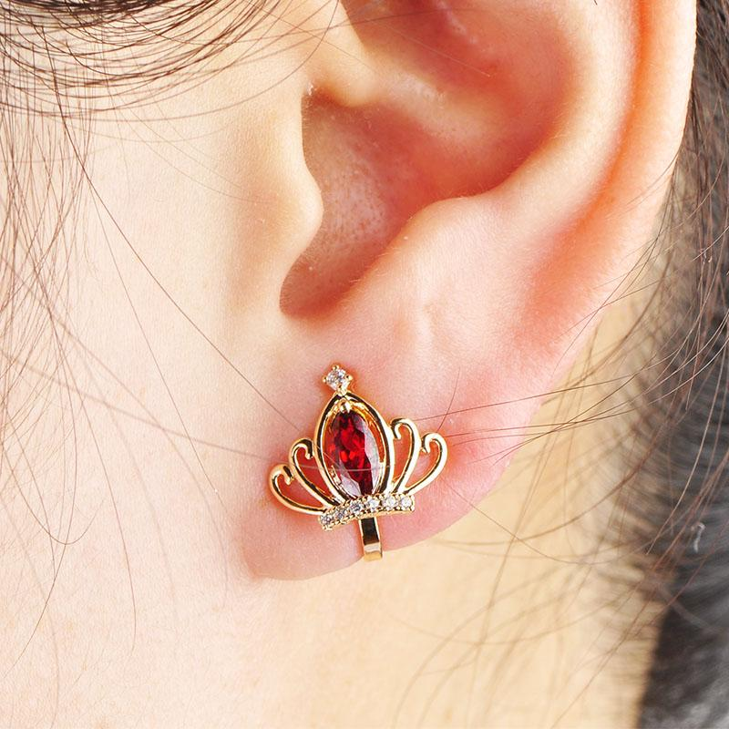 MECHOSEN Elegant Crown Clip Earrings For Women Red Crystal Gold Color Brincos Cartilage Orecchini Without Piercing Ears Cuff