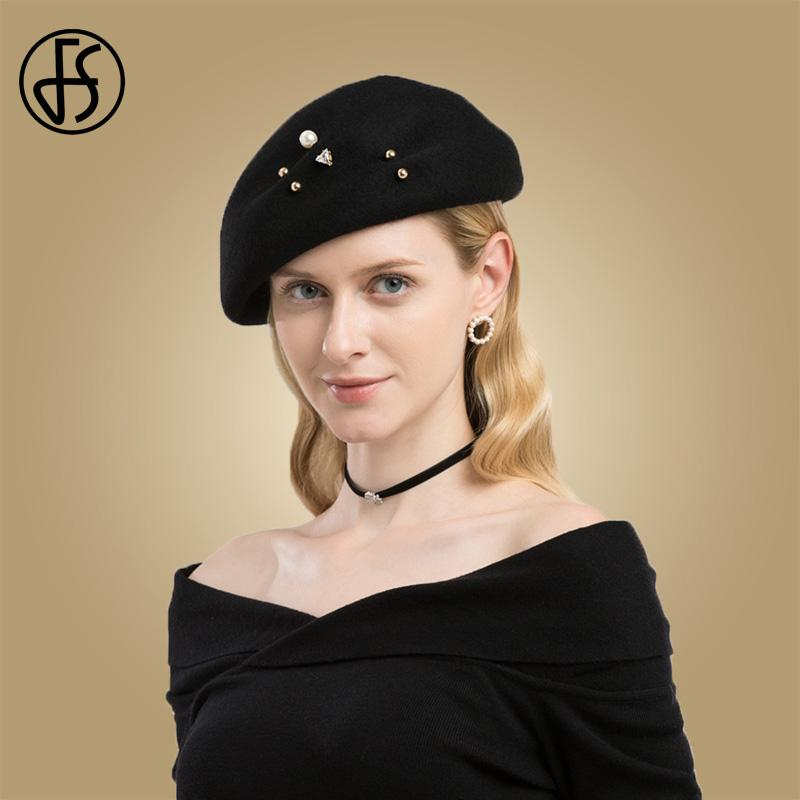 1ec9ef299884f 2019 FS French Artist Beret Caps For Women Winter Elegant Black Wool Berets  Femme Hat With Pearl Female Painter Octagonal Hats Cap From Winwin2013
