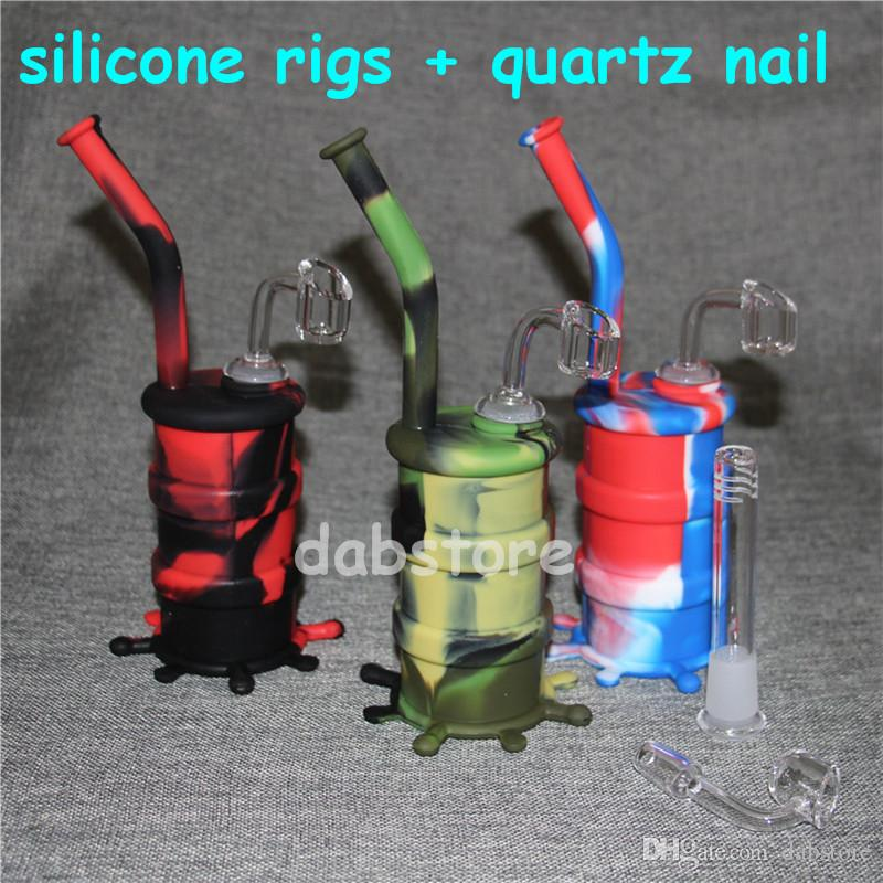 Hookah Silicone Barrel Rigs Mini Silicone Rigs Dab Jar Bongs Jar Water pipe Silicon Oil Drum Rigs with quartz nails