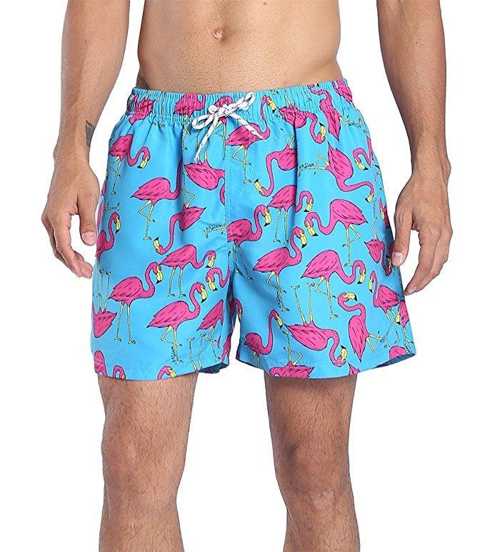 a66edebcc7 Summer Flamingo USA Flag Anchor Beach Men's Swim Trunks Quick Dry Bathing  Suit Man Fashion Beach Shorts K805 S-XL6 color Blue Purple