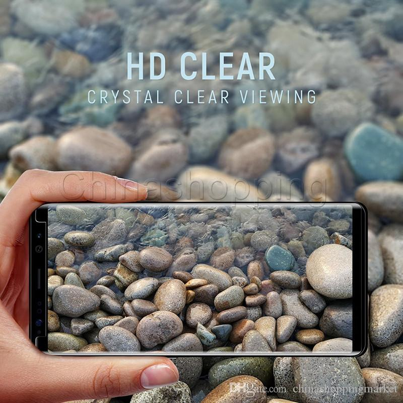 Caso amigável 3d curvo protetor de tela flim superfície completa tampa de vidro temperado para samsung s9 s8 mais s7 edge com pacote de varejo