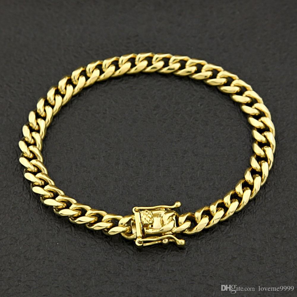 Acero inoxidable de alta calidad Curb cadena cubana Dragon corchete pulseras hombres mujeres moda oro plata brazaletes 8mm / 10/12 / 14mm 23 cm
