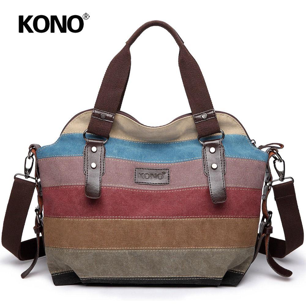 4273c95680 KONO Women Handbag Canvas Rainbow Multi Color Stripes Hobo Bag Top Handle  Bags Cross Body Messenger Shoulder Bag Tote E1677 Hobo Purse Leather Hobo  Bags ...