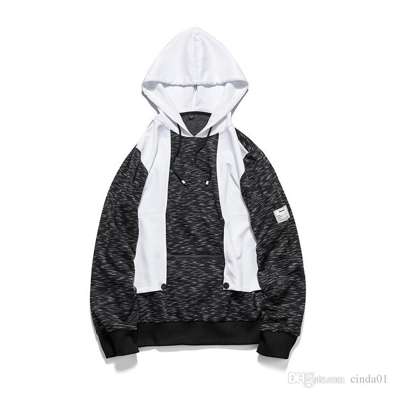 Mens High Street Hip Hop Hoodies Weiße Kapuze Streetwear Sweatshirts Herbst Winter Männlichen Casual Pullover Kostenloser Versand