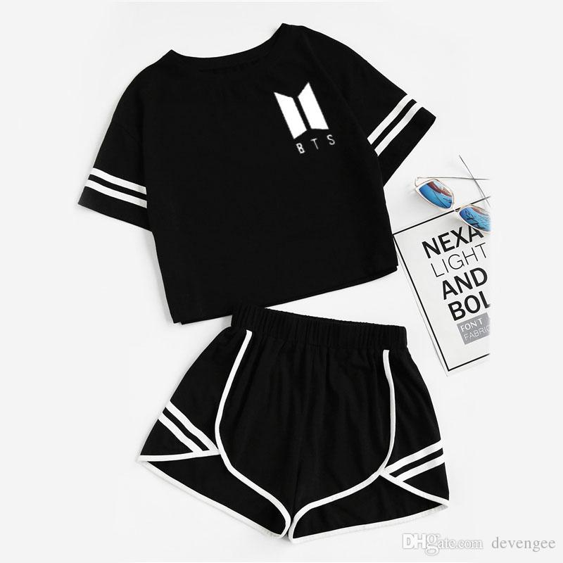 f088d77753b 2019 Summer Sporting Track Suit Female Clothes Set BTS Crop Top Shorts Two  Piece Outfits Casual Women Tracksuit DG012 From Devengee