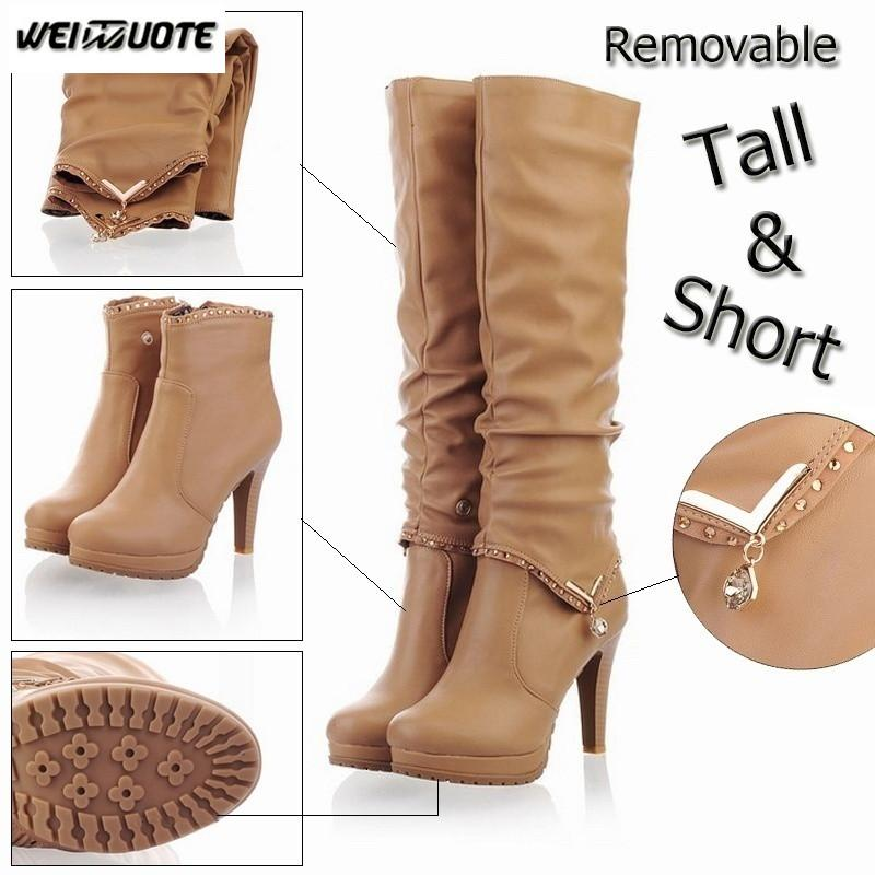 45ef2ae16d2 WEINUOTE New Fashion Winter Sexy Women Leather Knee High Boots Two Way Wear  High Heel Boots Ladies Stiletto Heel Platform Boots Pharmacy Chukka Boots  From ...