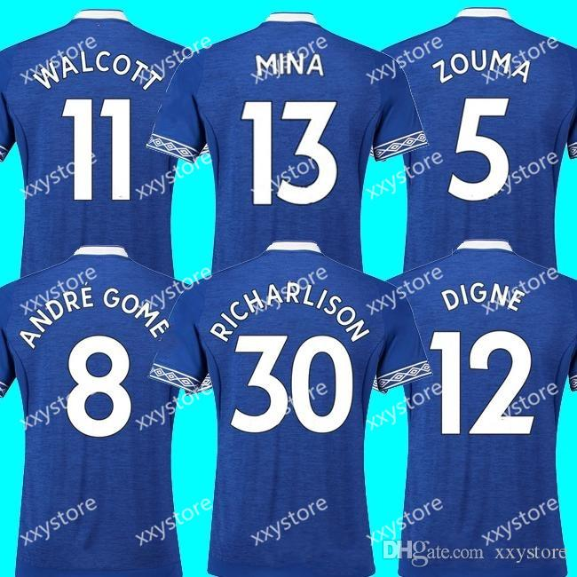 40bb83aaa 18 19 Everton Soccer Jersey Home Rooney 2018 2019 Walcott CENK TOSUN ...