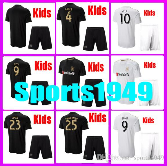 79bf22143 2019 Rugby 2018 2019 Kids Jersey LAFC Carlos 10 Vela GABER 9 ROSSI CIMAN  ZIMMERMAN 18 19 Home Away Jerseys Child Teen From Sports1949