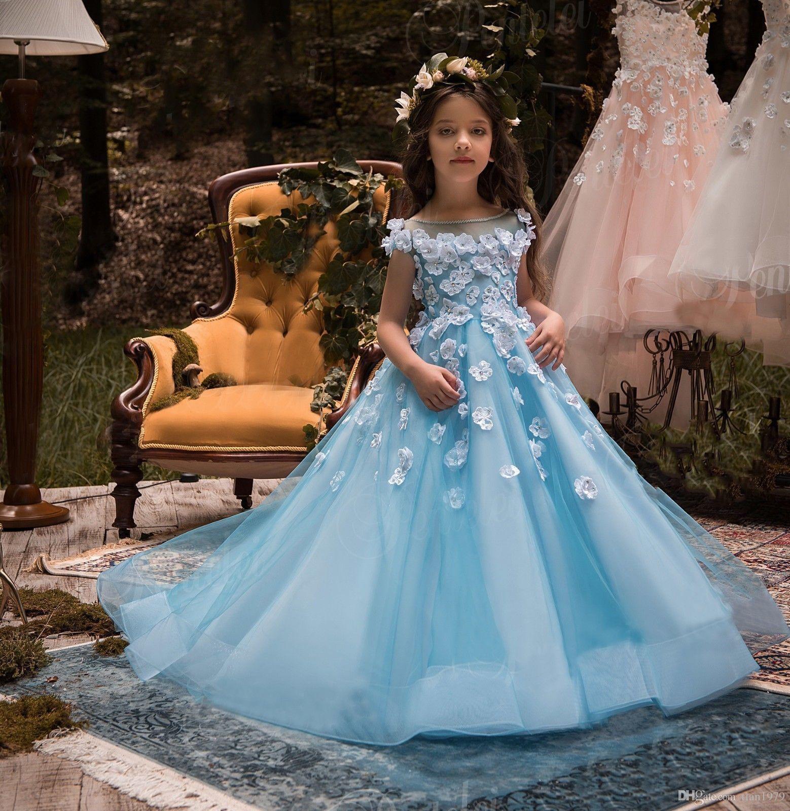 Lace Junior Brautjungfernkleider bodenlangen Chiffon Lange A-Linie Scoop Blumenmädchenkleider Für Brautjungfern Günstige