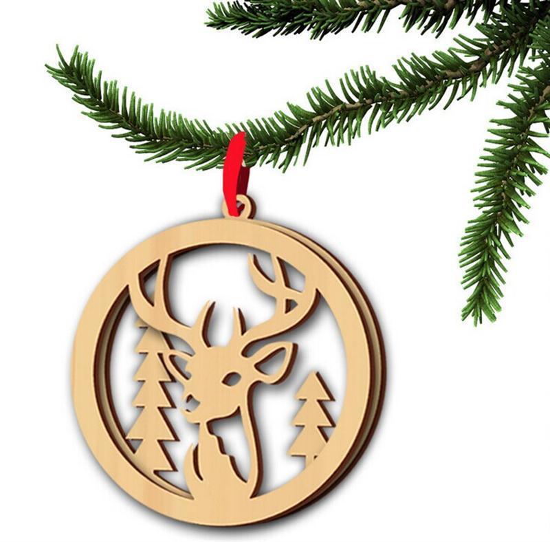 Compre 3 Unids / Lote Feliz Navidad Adornos De Madera Artesanías De ...