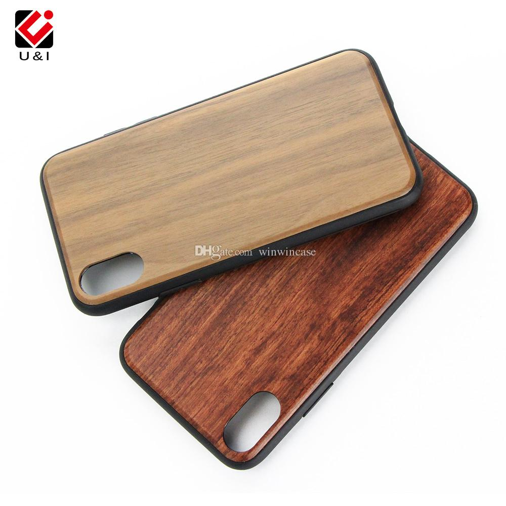 Ultra thin blank wood cell phone case for iPhone x 6 7 8 i6 i6s plus full tpu rubber coating bamboo back cover